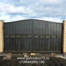 Кованые ворота 2 пос Черная речка, Тюмень