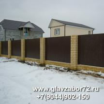 Забор из профнастила на кирпичных столбах Новотарманск(Тюмень)