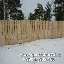 Забор из деревянного штакетника, сквозной,Тюмень, СНТ Сосновая поляна