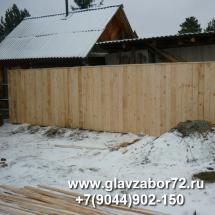 Забор из деревянного штакетника сплошной, СНТ Сосновая поляна, Тюмень