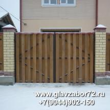 Ворота сварные с деревянным штакетником, Тюмень, Метелево