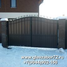 Ворота сварные с коваными элементами и профнастилом, Комарова, Тюмень