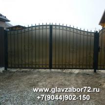 Ворота сварные с коваными элементами и поликарбонатом.Тюмень, Н-Тарманск
