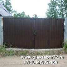 Ворота из профнастила с калиткой внутри, Тюмень, СНТ Искра-2