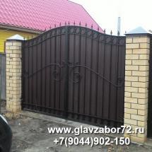 Ворота сварные с коваными элементами с профнастилом, Тюмень, Винзили