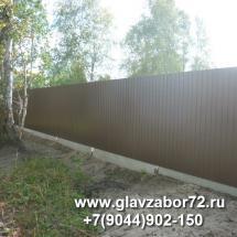 Забор из профнастила Боровое(фасад) Тюмень