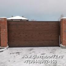 Ворота откатные с автоматикой САМЕ, с деревянным штакетником, Тюмень, Княжевская