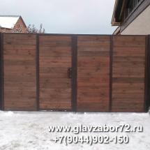 Ворота распашные с калиткой из деревянного штакетника,Тюмень, Княжевская