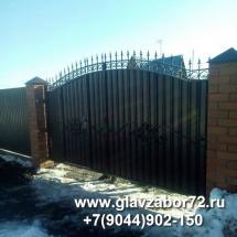 Ворота сварные с коваными элементами с калиткой внутри, Тюмень Перевалово,