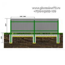 Забор из профнастила ЗП-3