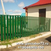 Забор из металлоштакетника пос.Молодежный г.Тюмень