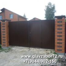 Ворота из профнастила с калиткой Березняки(Тюмень)
